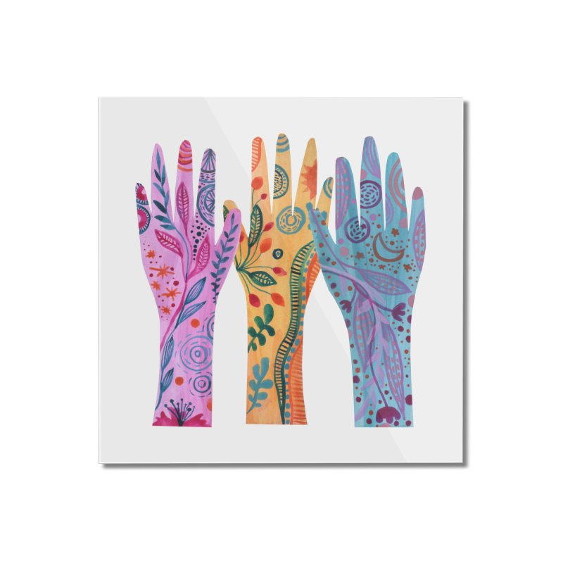 Magical Floral Hands Home Mounted Acrylic Print by FoxandCrow's Artist Shop