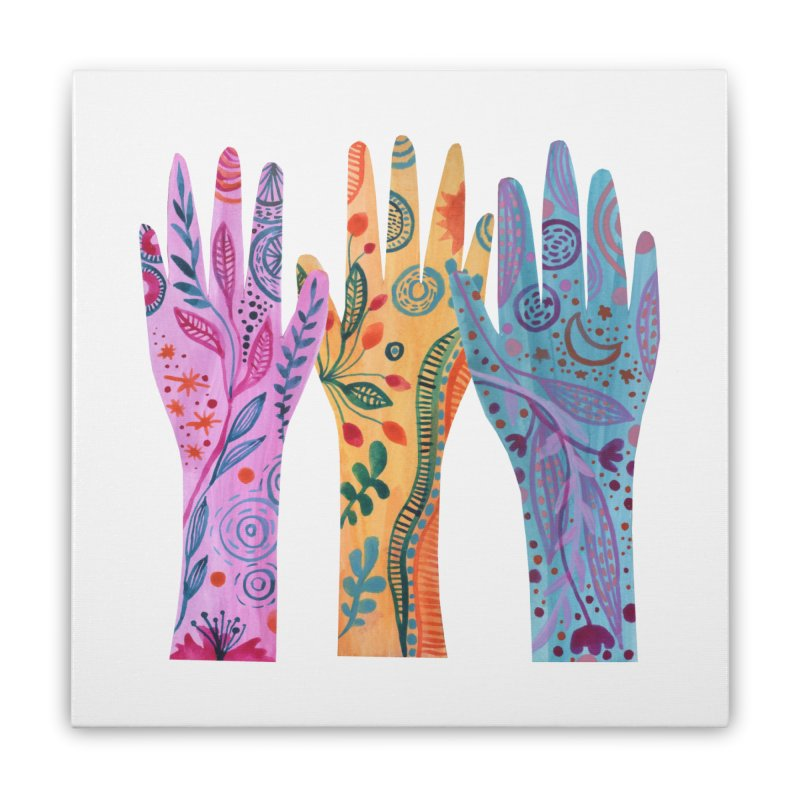 Magical Floral Hands Home Stretched Canvas by FoxandCrow's Artist Shop