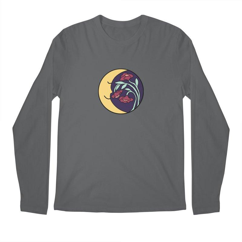 Moon Flower Burgundy Men's Longsleeve T-Shirt by FoxandCrow's Artist Shop