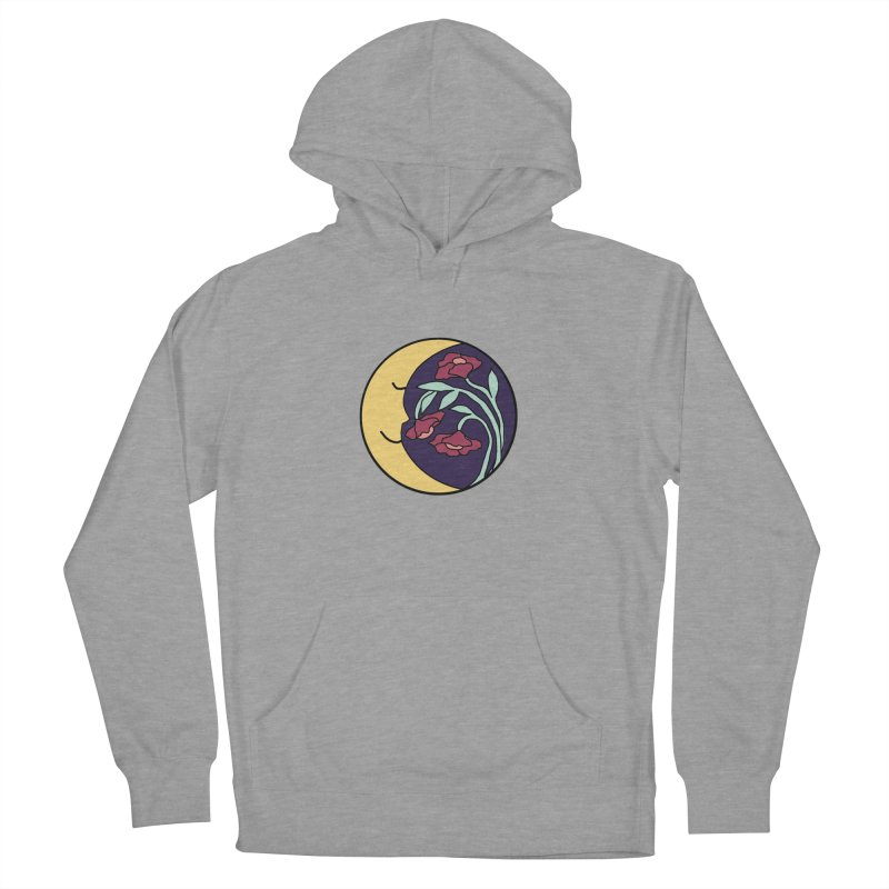 Moon Flower Burgundy Men's French Terry Pullover Hoody by FoxandCrow's Artist Shop