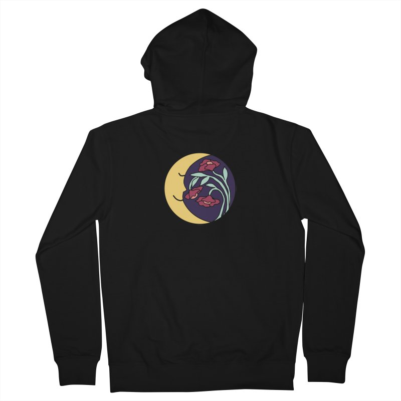 Moon Flower Burgundy Women's French Terry Zip-Up Hoody by FoxandCrow's Artist Shop