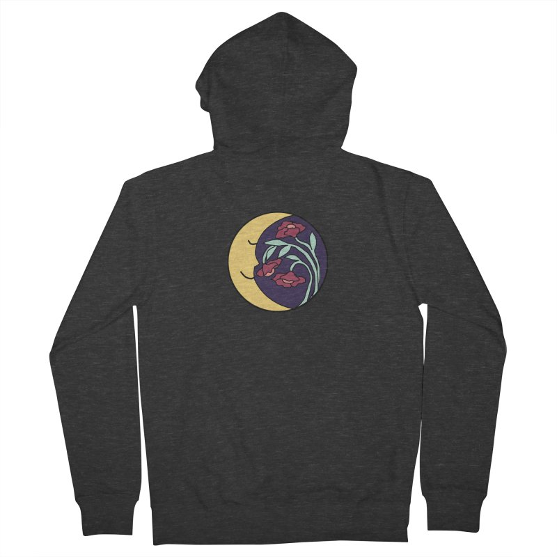 Moon Flower Burgundy Men's French Terry Zip-Up Hoody by FoxandCrow's Artist Shop
