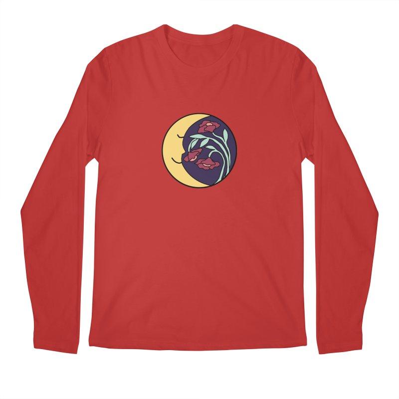 Moon Flower Burgundy Men's Regular Longsleeve T-Shirt by FoxandCrow's Artist Shop