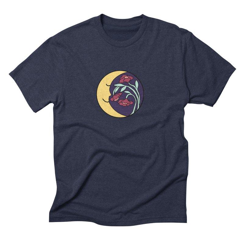 Moon Flower Burgundy Men's Triblend T-Shirt by FoxandCrow's Artist Shop