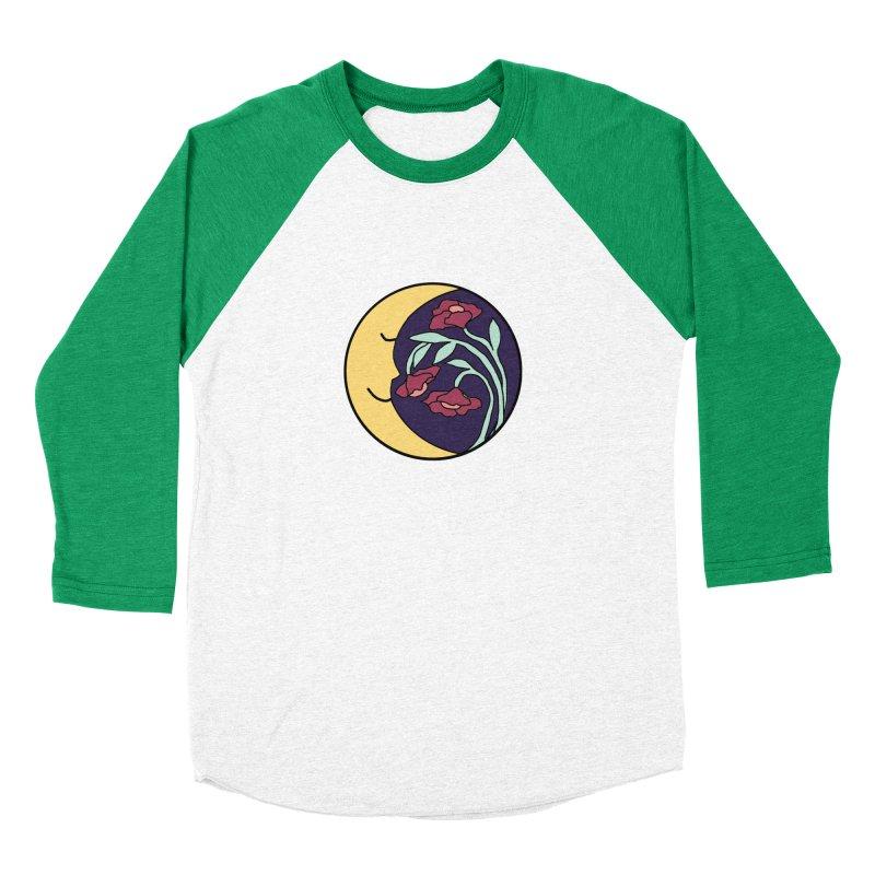 Moon Flower Burgundy Women's Baseball Triblend Longsleeve T-Shirt by FoxandCrow's Artist Shop