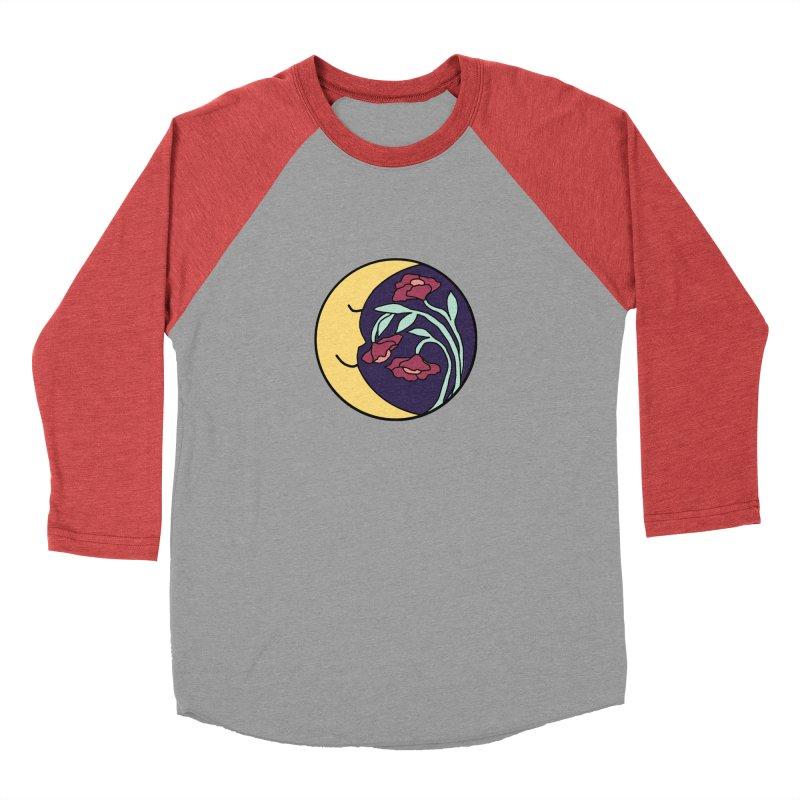 Moon Flower Burgundy Men's Baseball Triblend Longsleeve T-Shirt by FoxandCrow's Artist Shop
