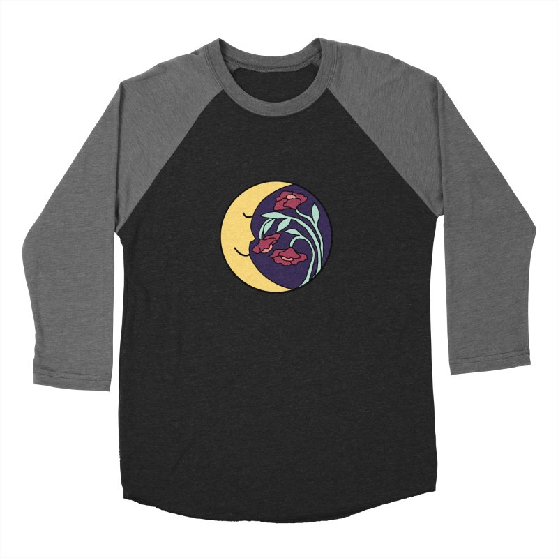 Moon Flower Burgundy Men's Baseball Triblend Longsleeve T-Shirt by FoxandCrow's Artist Shop