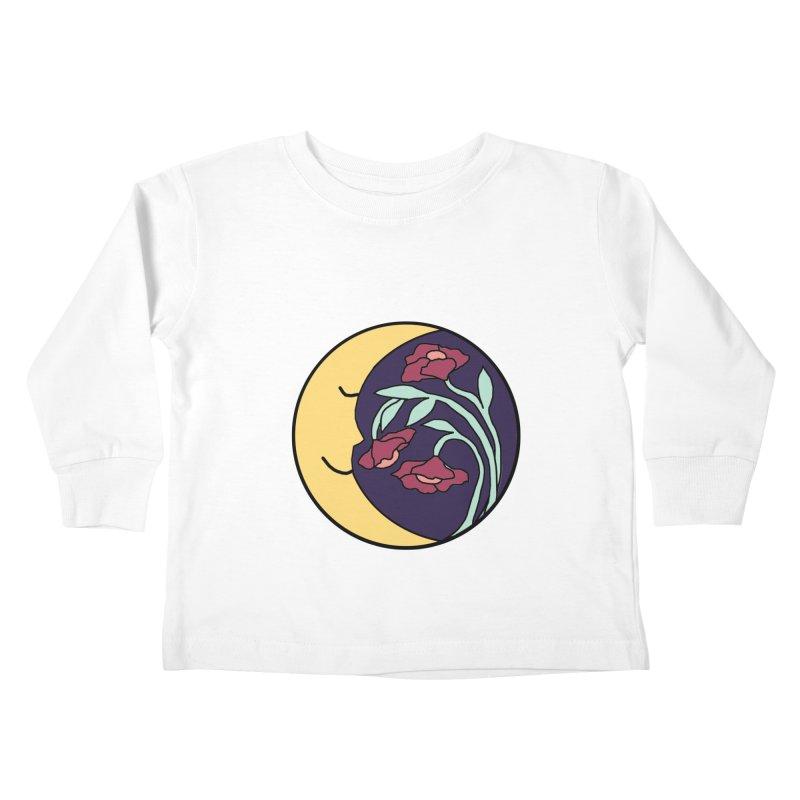 Moon Flower Burgundy Kids Toddler Longsleeve T-Shirt by FoxandCrow's Artist Shop