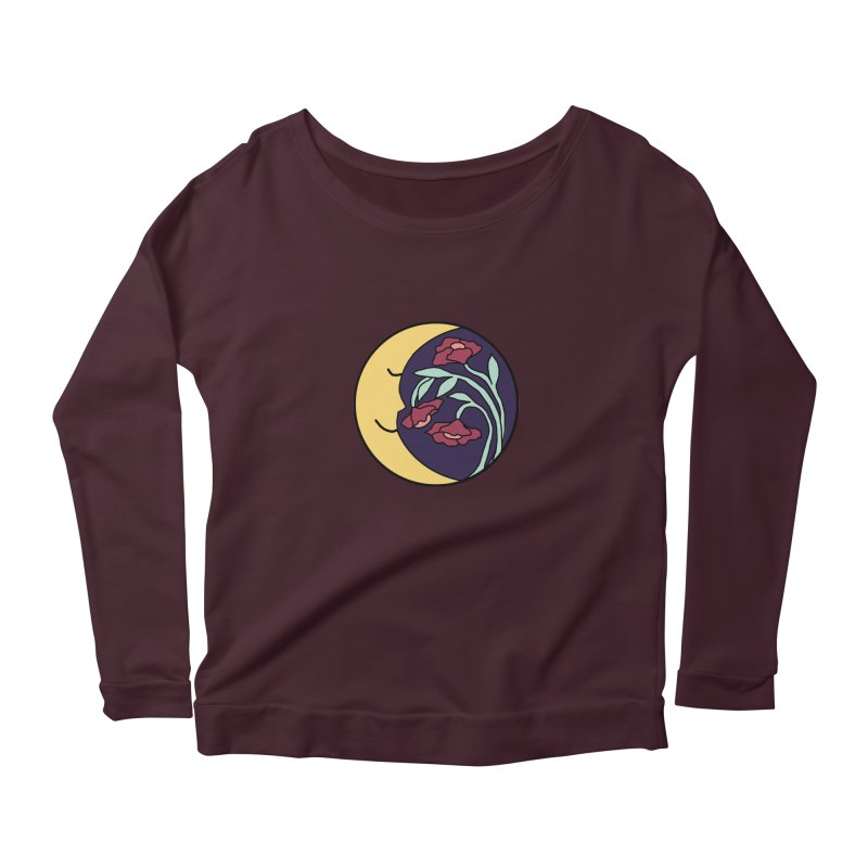 Moon Flower Burgundy Women's Longsleeve T-Shirt by FoxandCrow's Artist Shop