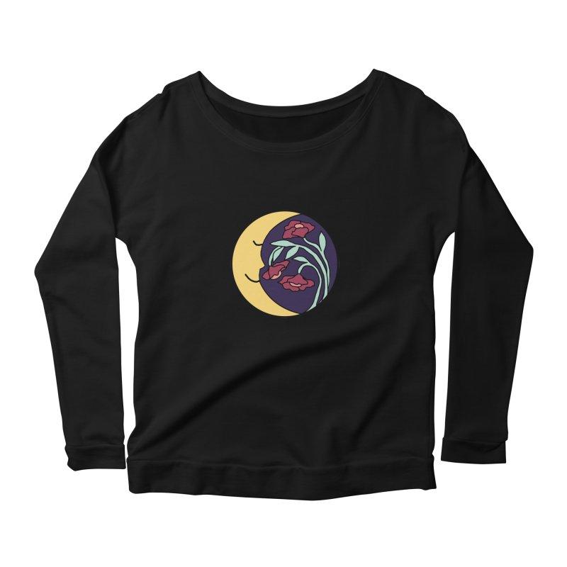 Moon Flower Burgundy Women's Scoop Neck Longsleeve T-Shirt by FoxandCrow's Artist Shop