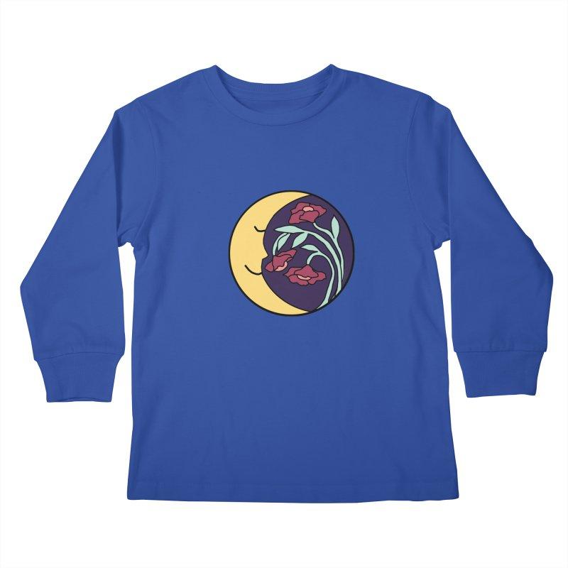 Moon Flower Burgundy Kids Longsleeve T-Shirt by FoxandCrow's Artist Shop