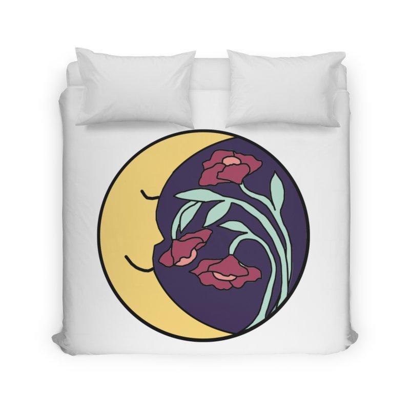 Moon Flower Burgundy Home Duvet by FoxandCrow's Artist Shop
