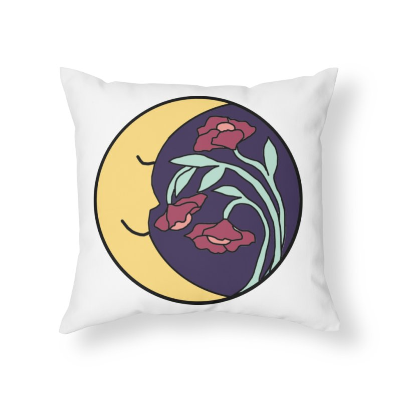 Moon Flower Burgundy Home Throw Pillow by FoxandCrow's Artist Shop