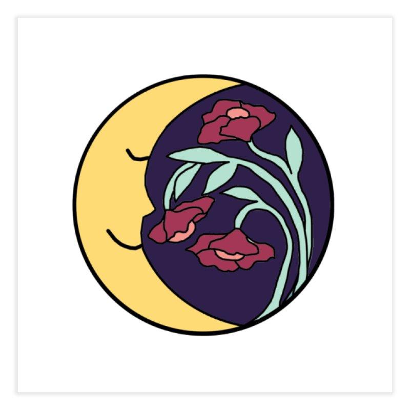 Moon Flower Burgundy Home Fine Art Print by FoxandCrow's Artist Shop
