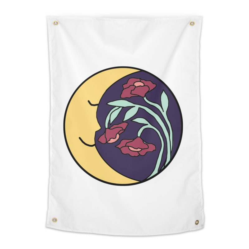 Moon Flower Burgundy Home Tapestry by FoxandCrow's Artist Shop