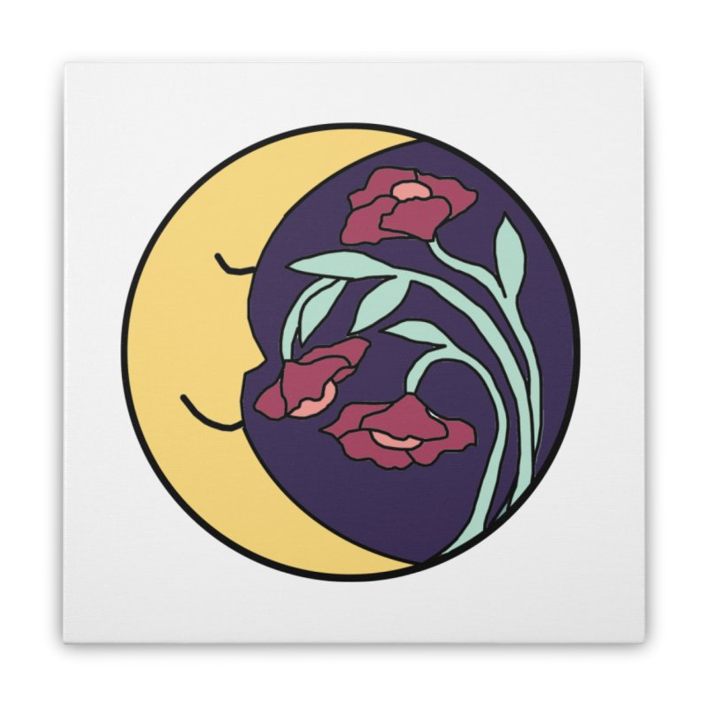 Moon Flower Burgundy Home Stretched Canvas by FoxandCrow's Artist Shop