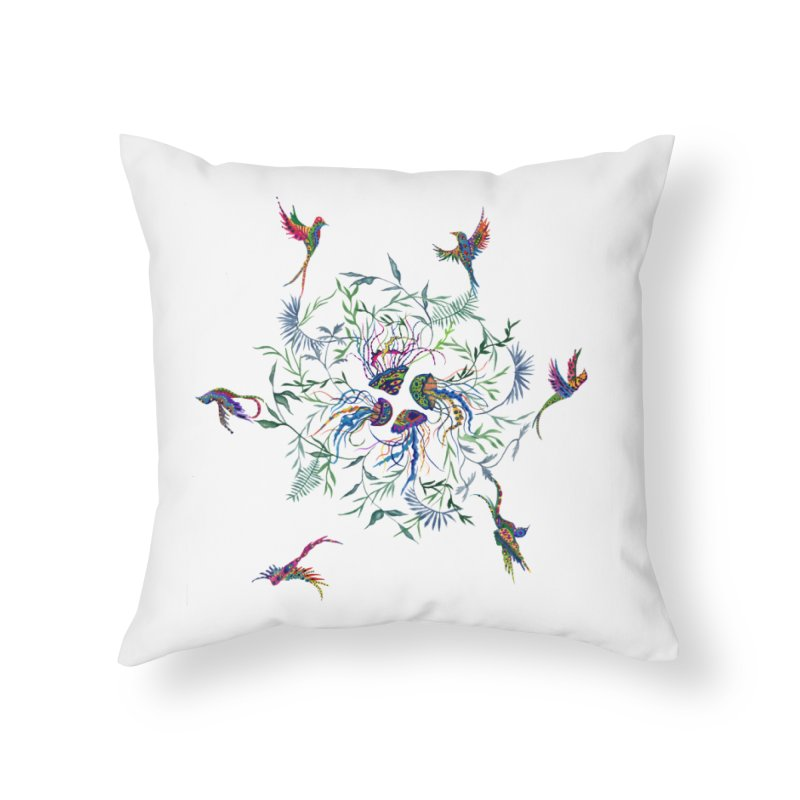 Fly in the Sea Home Throw Pillow by FoxandCrow's Artist Shop