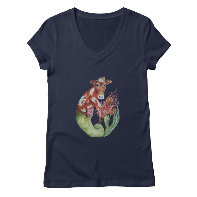 MerMoo Women's Regular V-Neck by FoxandCrow's Artist Shop