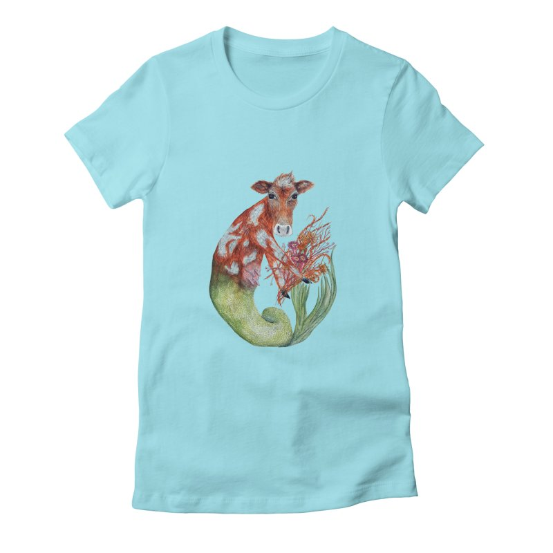 MerMoo Women's Fitted T-Shirt by FoxandCrow's Artist Shop