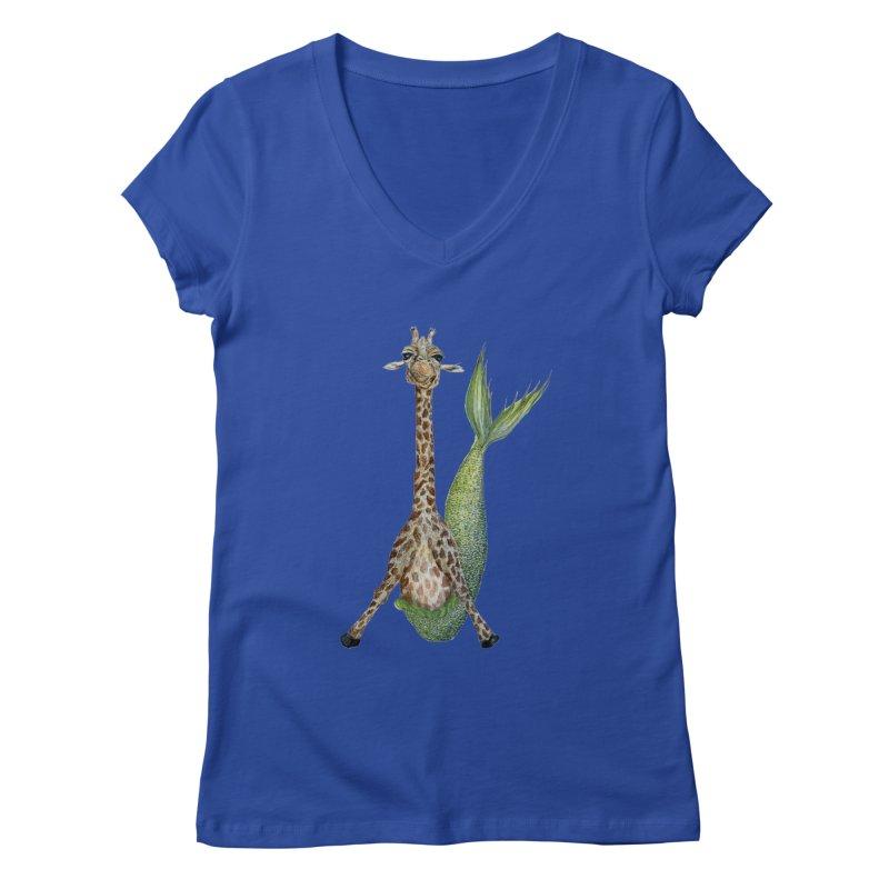 Meraffe (Mermaid Giraffe) Women's Regular V-Neck by FoxandCrow's Artist Shop