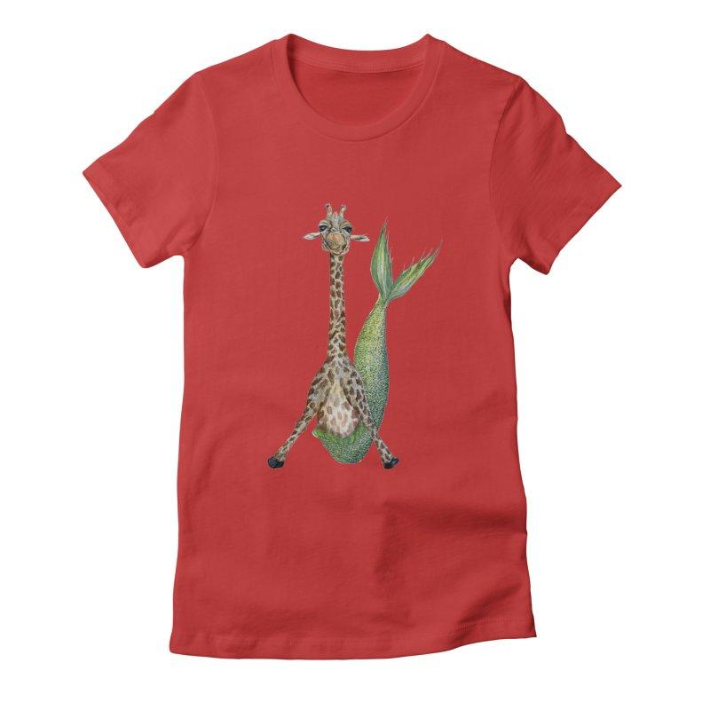 Meraffe (Mermaid Giraffe) Women's Fitted T-Shirt by FoxandCrow's Artist Shop