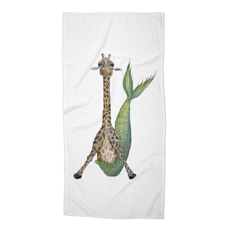 Meraffe (Mermaid Giraffe) Accessories Beach Towel by FoxandCrow's Artist Shop