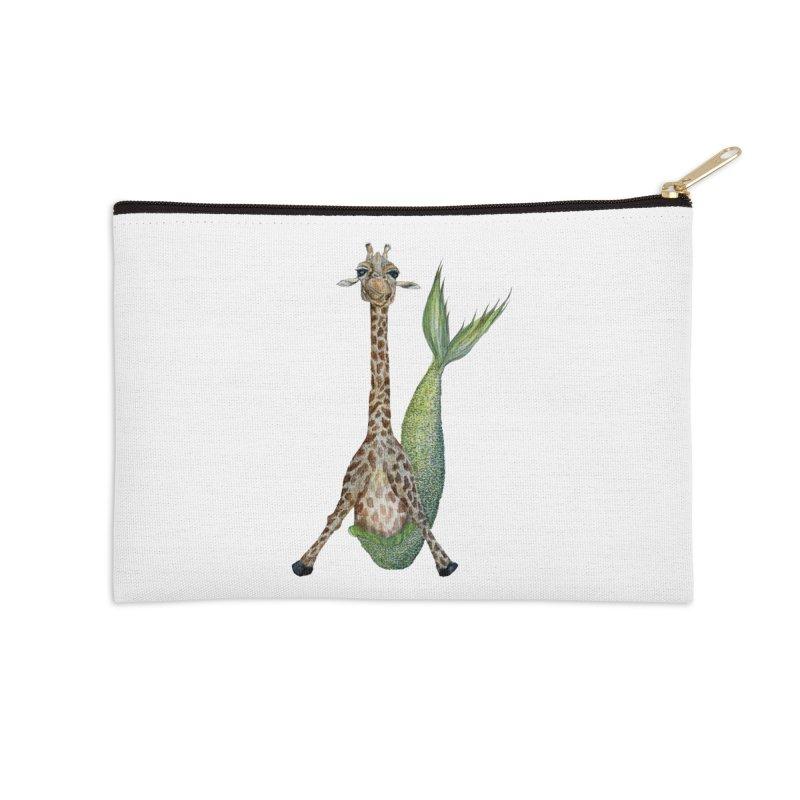 Meraffe (Mermaid Giraffe) Accessories Zip Pouch by FoxandCrow's Artist Shop