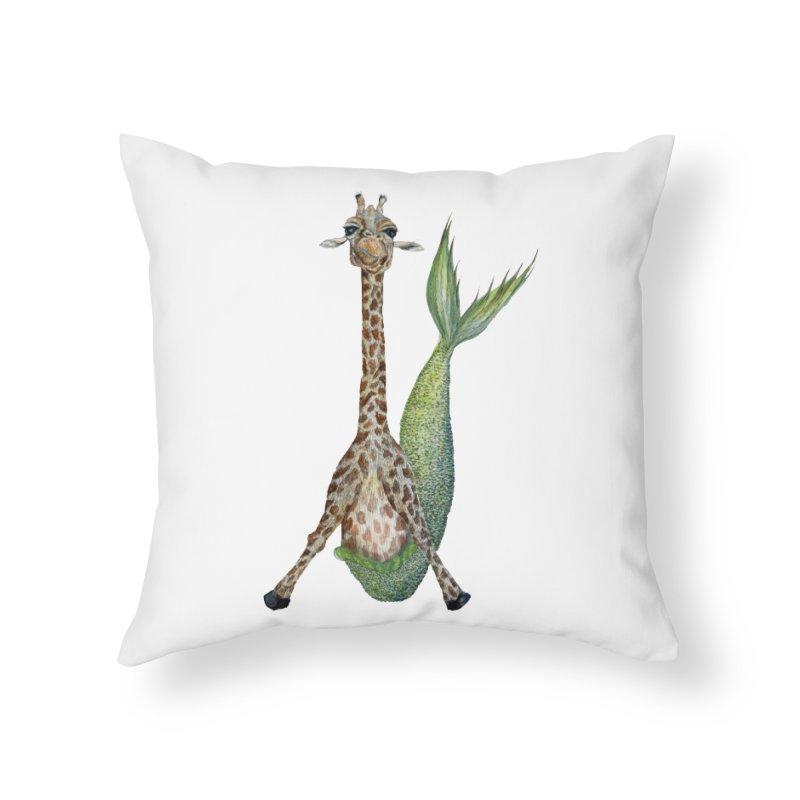 Meraffe (Mermaid Giraffe) Home Throw Pillow by FoxandCrow's Artist Shop
