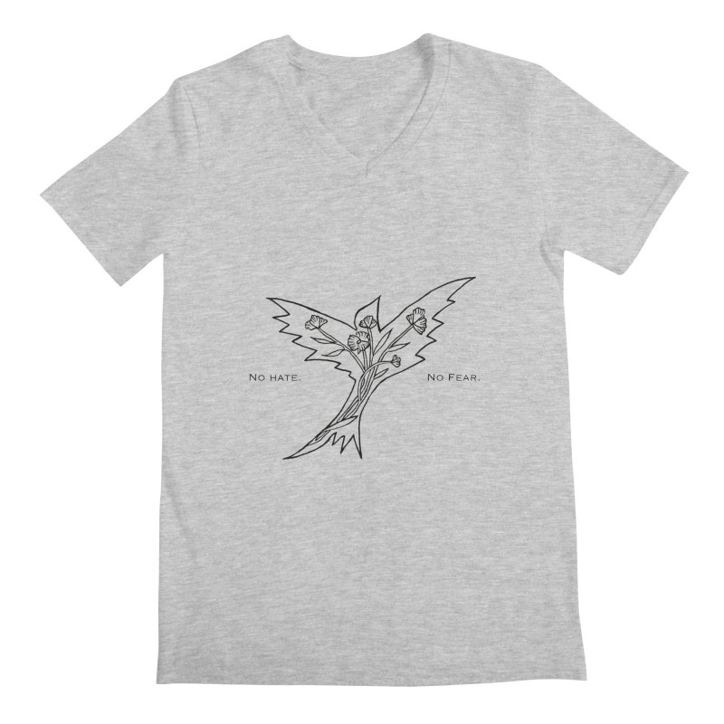 No Hate. No Fear. Everyone is Welcome Here. Men's Regular V-Neck by FoxandCrow's Artist Shop