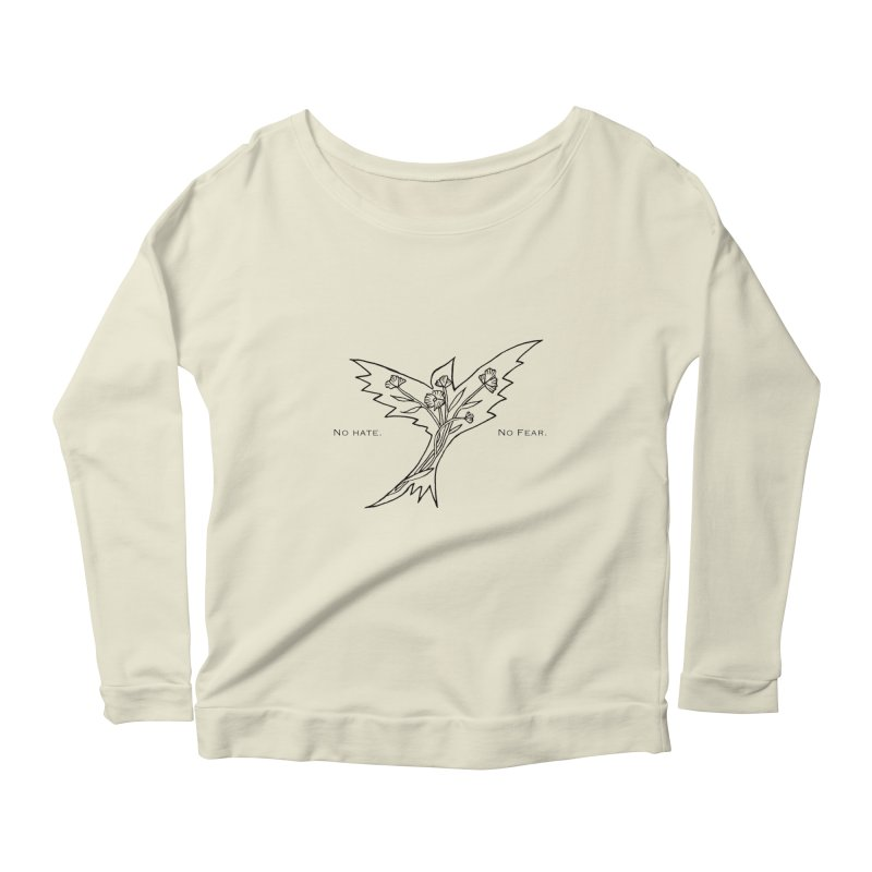 No Hate. No Fear. Everyone is Welcome Here. Women's Scoop Neck Longsleeve T-Shirt by FoxandCrow's Artist Shop
