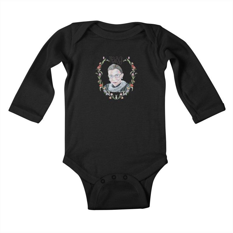 RBG Kids Baby Longsleeve Bodysuit by FoxandCrow's Artist Shop