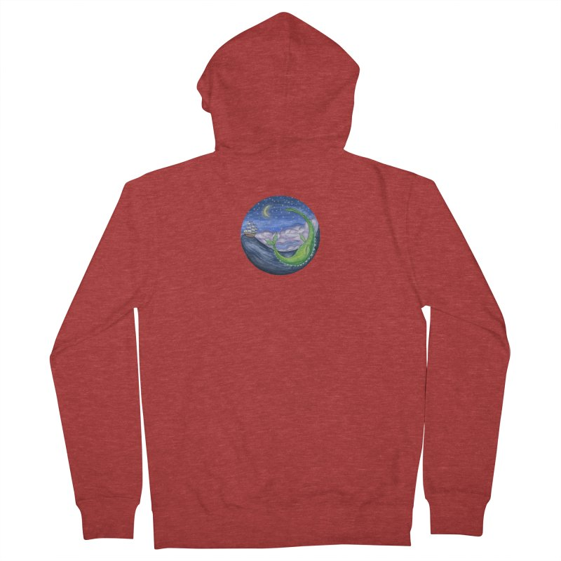 Sea Monster Night Men's French Terry Zip-Up Hoody by FoxandCrow's Artist Shop