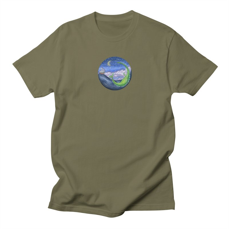 Sea Monster Night Men's Regular T-Shirt by FoxandCrow's Artist Shop