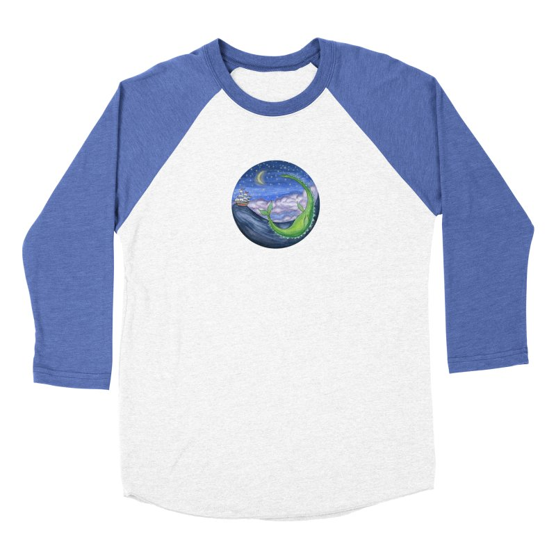 Sea Monster Night Women's Baseball Triblend Longsleeve T-Shirt by FoxandCrow's Artist Shop