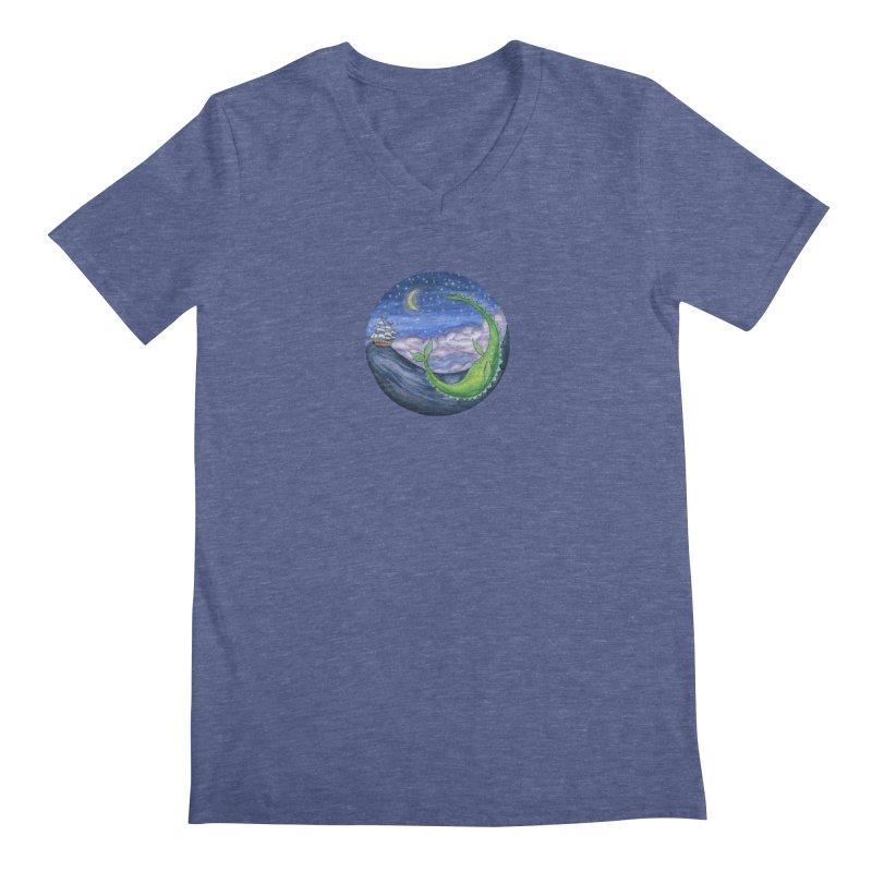 Sea Monster Night Men's Regular V-Neck by FoxandCrow's Artist Shop
