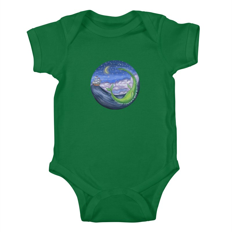 Sea Monster Night Kids Baby Bodysuit by FoxandCrow's Artist Shop