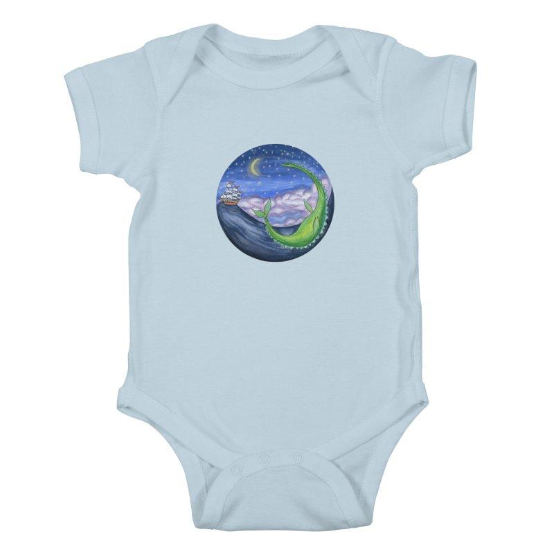 Sea Monster Night Kids Baby Bodysuit by FoxandCrow's Artist Shop