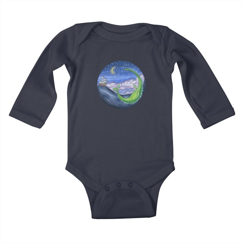 Sea Monster Night Kids Baby Longsleeve Bodysuit by FoxandCrow's Artist Shop