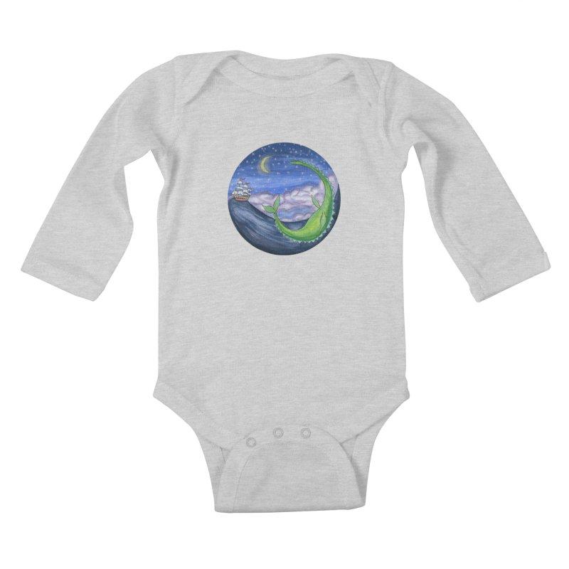 Sea Monster Night Kids Baby Longsleeve Bodysuit by FoxandCrow's Artist Shop