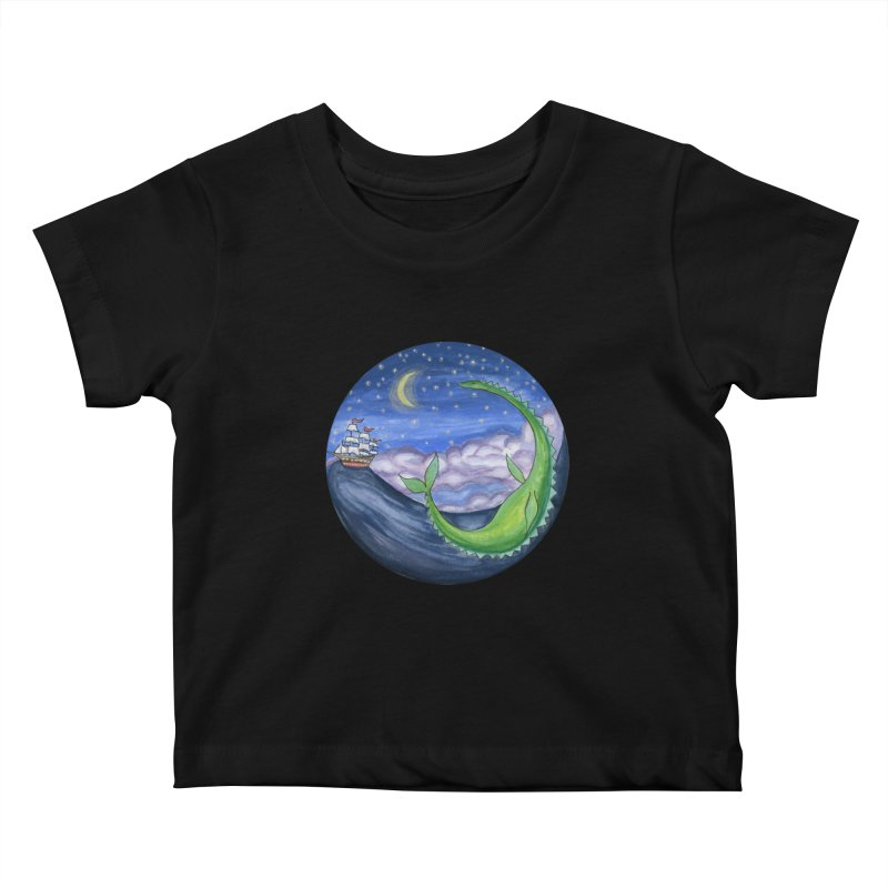 Sea Monster Night Kids Baby T-Shirt by FoxandCrow's Artist Shop