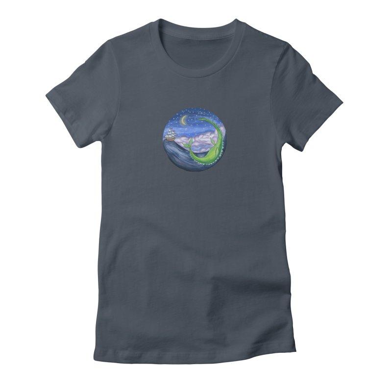 Sea Monster Night Women's T-Shirt by FoxandCrow's Artist Shop