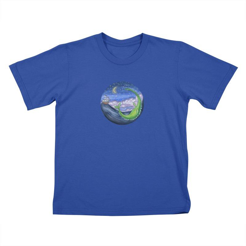 Sea Monster Night Kids T-Shirt by FoxandCrow's Artist Shop