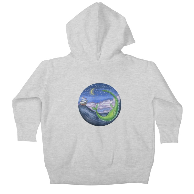 Sea Monster Night Kids Baby Zip-Up Hoody by FoxandCrow's Artist Shop