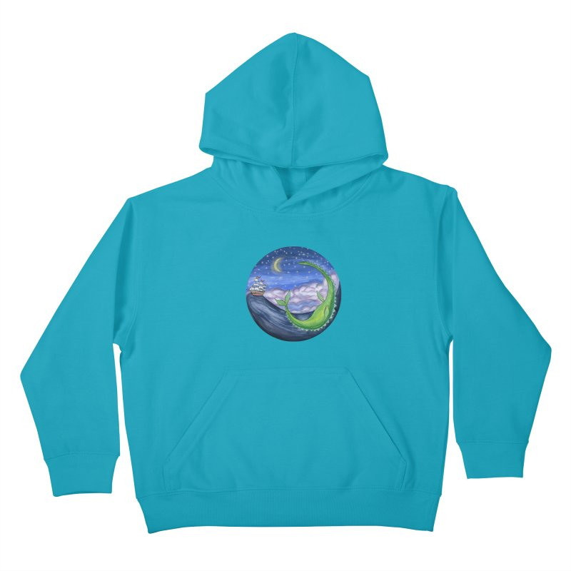 Sea Monster Night Kids Pullover Hoody by FoxandCrow's Artist Shop