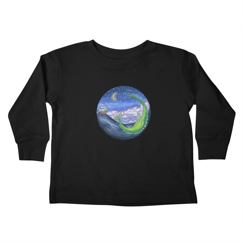 Sea Monster Night Kids Toddler Longsleeve T-Shirt by FoxandCrow's Artist Shop