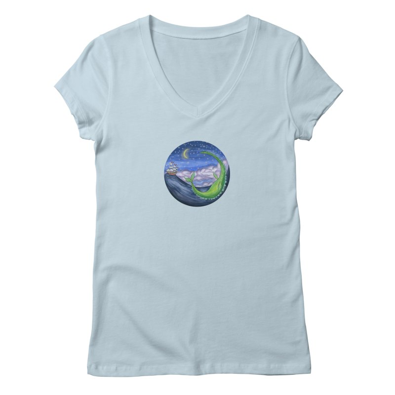 Sea Monster Night Women's Regular V-Neck by FoxandCrow's Artist Shop