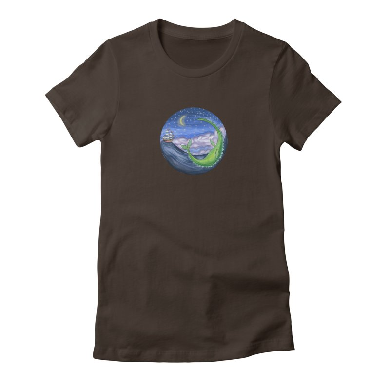 Sea Monster Night Women's Fitted T-Shirt by FoxandCrow's Artist Shop