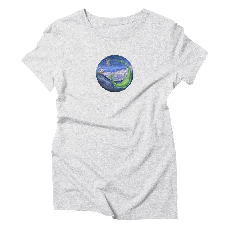 Sea Monster Night Women's Triblend T-Shirt by FoxandCrow's Artist Shop