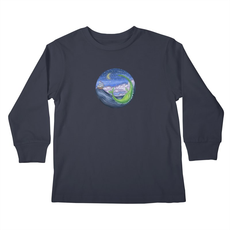 Sea Monster Night Kids Longsleeve T-Shirt by FoxandCrow's Artist Shop