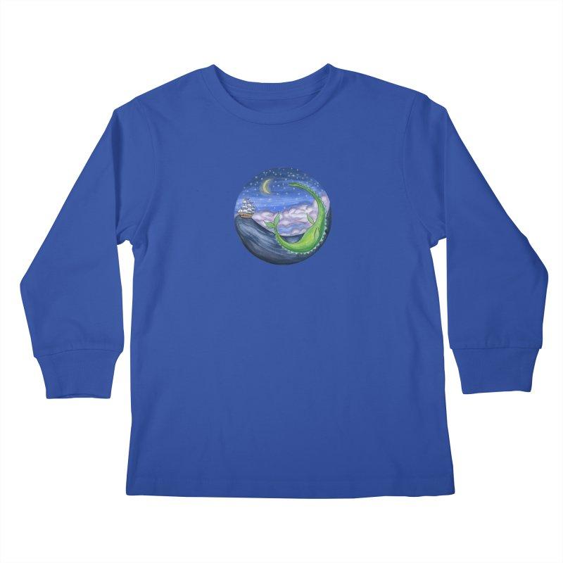 Sea Monster Night Kids Longsleeve T-Shirt by FoxandCrow's Artist Shop
